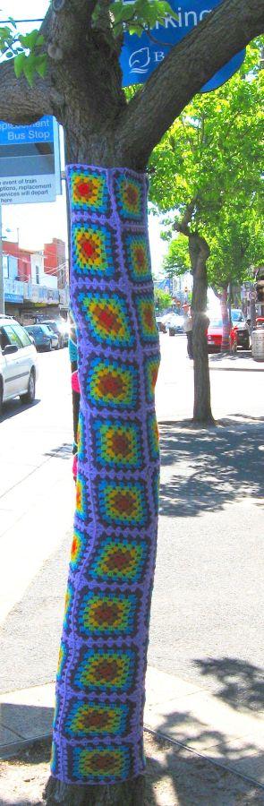 crochet squares, tree sleeve, yarn bombing, guerilla knitting, Is It Art?, Maryann Adair,