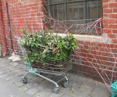 Yarn Bombing using supermarket trolley, supermarket trolley, street art, installations, Is It Art?, Maryann Adair,