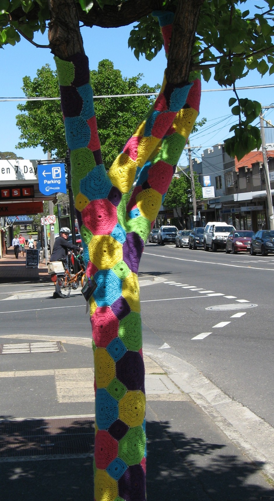 guerilla knitting crochet sleeve for street tree, Is It Art?, Maryann Adair,