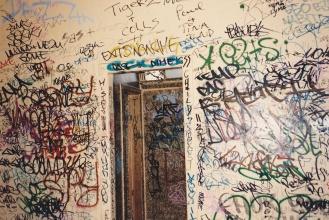 Railway station tagging - Toilet cubicle, grafitti, Is It Art?, Maryann Adair,