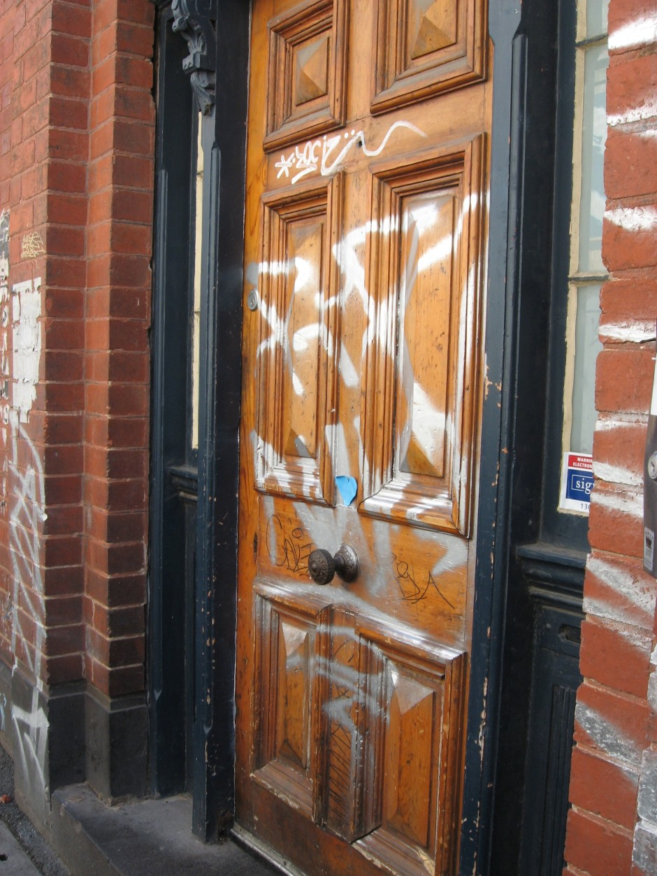 Grafitti front door, grafitti, graffit front door, Is It Art?, Maryann Adair,