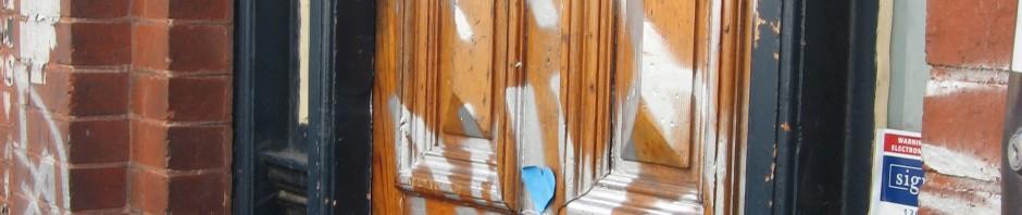 Grafitti front door, grafitti, graffit front door, Is It Art?, Maryann Adair,