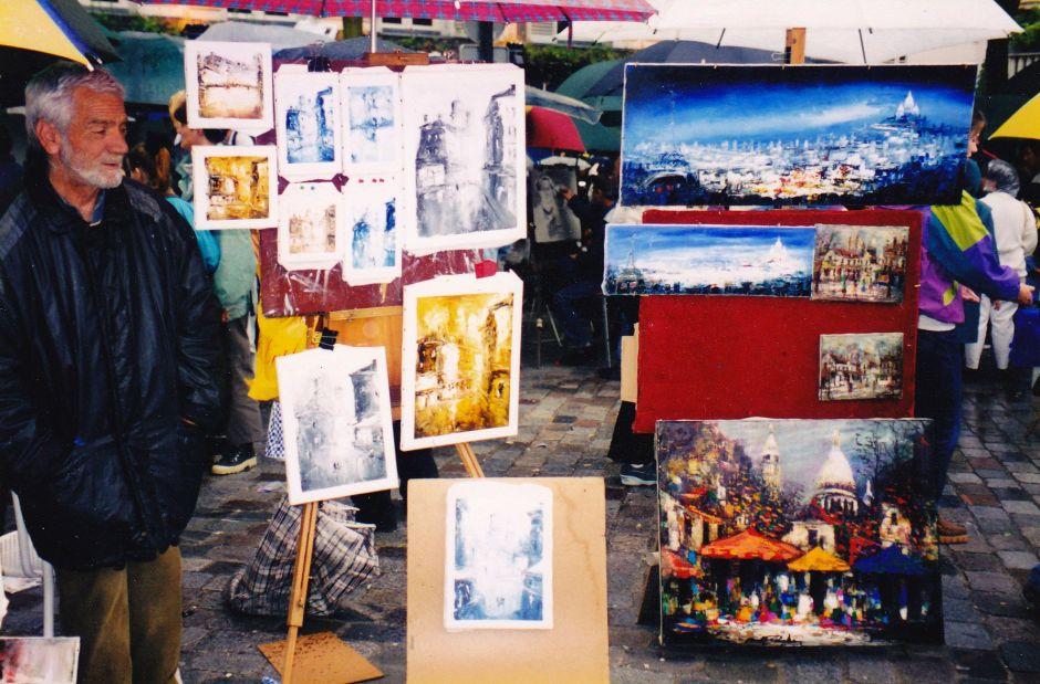 artist square Montmartre, Paris, art, artists, tourists, Is It Art?, Maryann Adair,