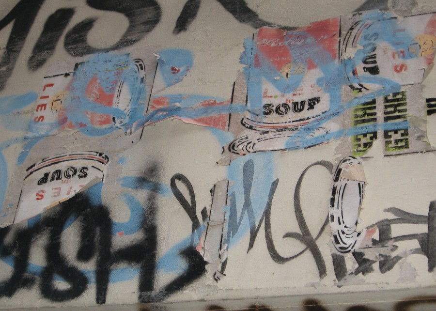 Campbell's soup can faded stencil, Is It Art?, Maryann Adair,