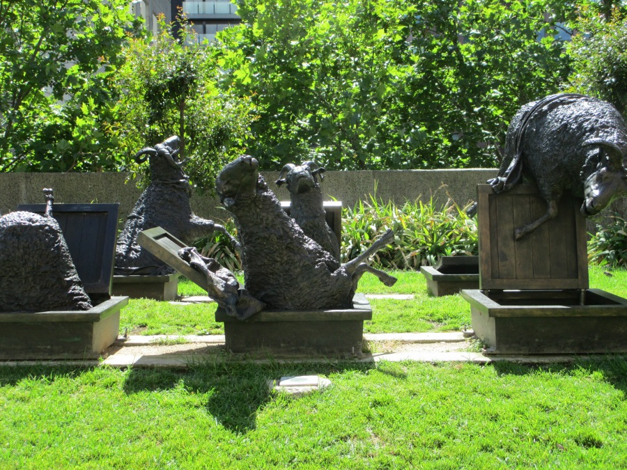 Les Kossatz, coming & going, sheep, statues, Melbourne, is it art?