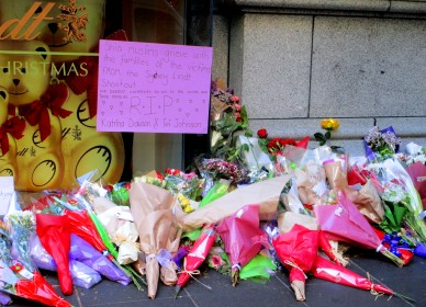 Flowers outside Lindt Cafe after Sydney siege