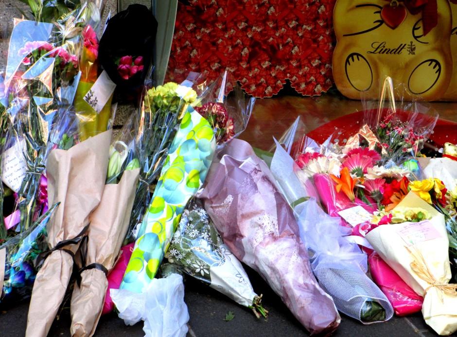 Flowers outside Lindt Cafe after Sydney siege