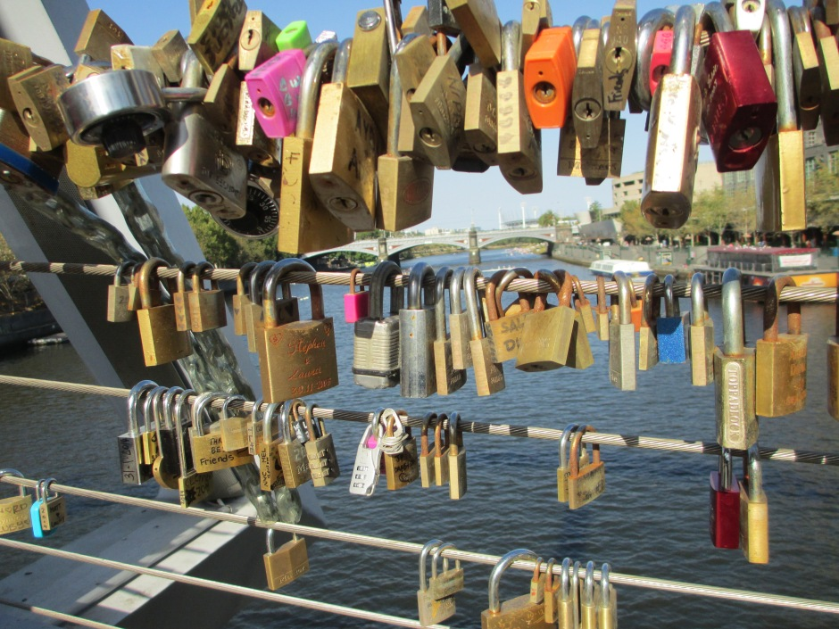 Love Locks on Melbourne footbridge