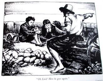 Cartoon based on Millais' Boyhood of Raleigh