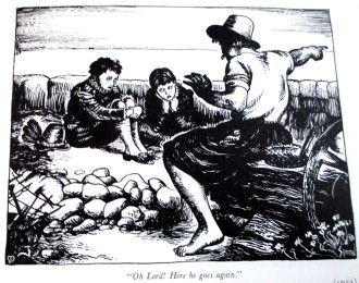Cartoon based on John Everett Millais' Boyhood of Raleigh