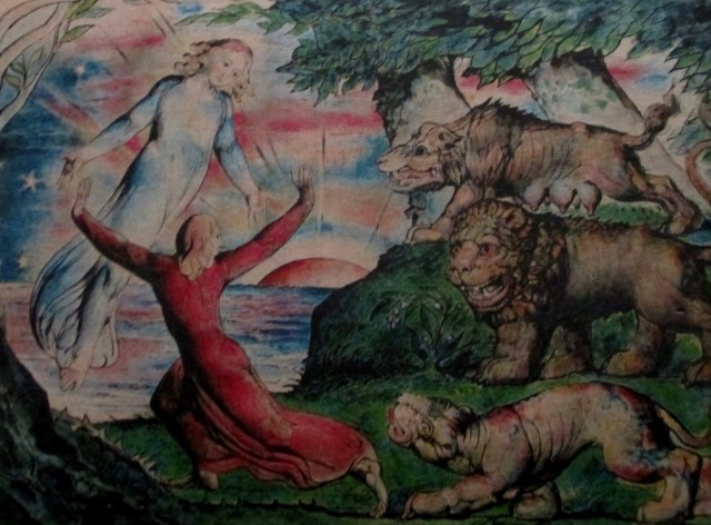 william blake - dante running from the 3 beasts