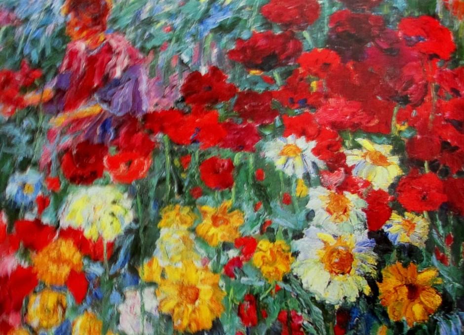 Emil Nolde - blumengarten frau in rot-violettem dleid