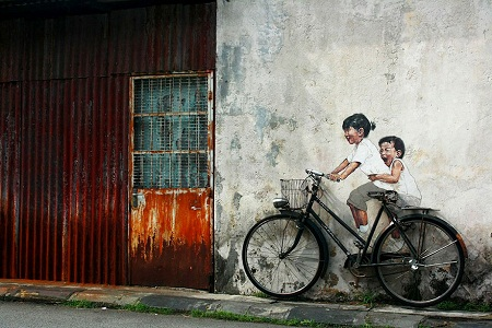 Ernest Zacharevic, Zach, street art, street artists, Malaysia, Singapore, Penang, is it art: