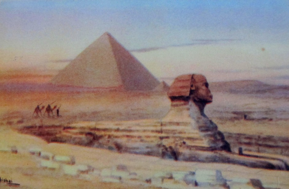 Ayoub Bishai, postcard, vintage postcard, Egyptian artists, Sphinx, pyramids, is it art?