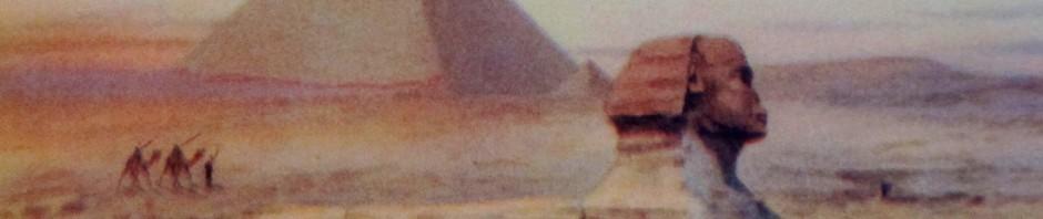 Ayoub Bishai, postcard, vintage postcard, Egyptian artists, Sphinx, pyramids, is it art?