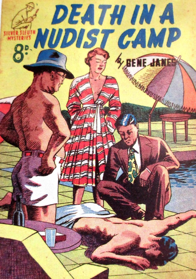 Death in a Nudist Camp by Gene Janes Silver Sleuth Mysteries cover art, illustrations, cover art, is it art?