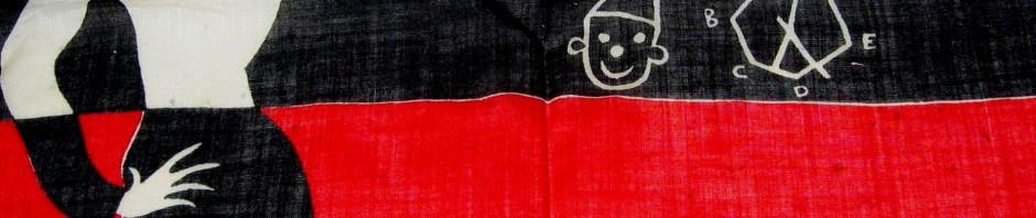 1950s French hanky, handkerchief