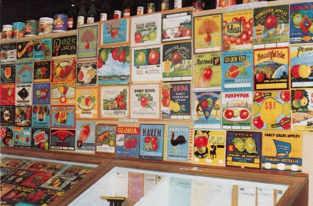 Huon Valley-Apple Museum wall of apple carton labels , Huon Valley, museums, Tasmania, apples, apple museum, stickers and labels, is it art?