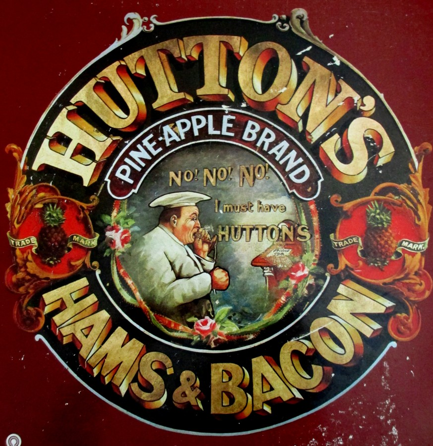 Hutton's Hams & Bacon sticker, Pineapple Brand, , smallgoods, illustrations, product stickers, is it art?