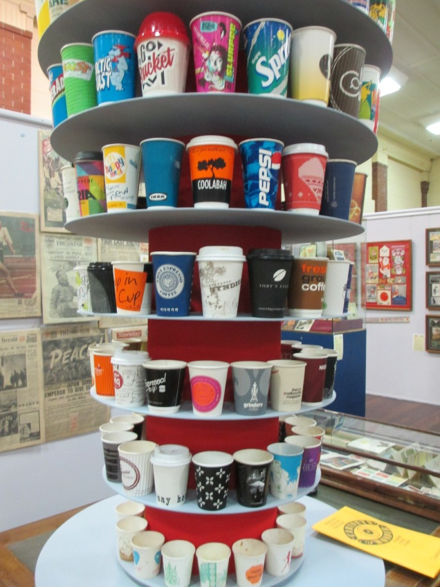 Paper Cup Collection | Love the Design, Hate the Waste', a selection of paper cups collected by 'MC'.