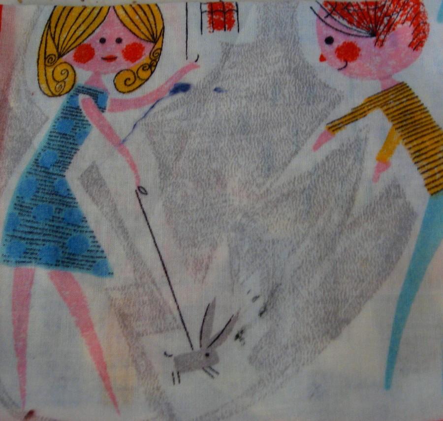 1960s print hanky, handkerchief