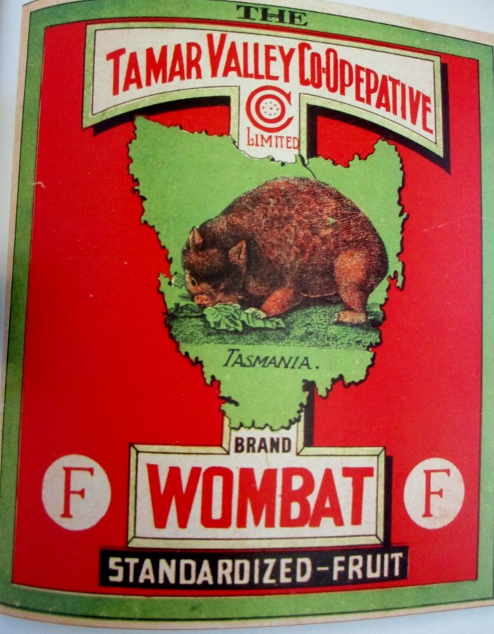 Tamar Valley Co-Op Wombat brand fruit label, Tasmania, fruit label art, is it art?