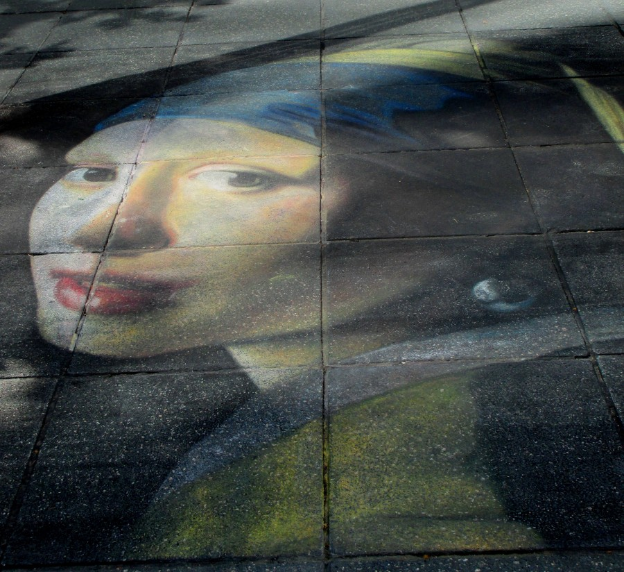 Chalk Art copy of Vermeer's, The Girl With the Pearl Earring, Vermeer, chalk art, chalkies, copy art, street art, is it art?