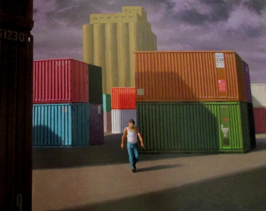 Jeffrey Smart - Second Study Containers and Silos at Livorno 1990, containers,