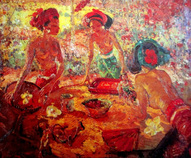 adrien-jean le mayeur de merpes - 3 balinese ladies around a table