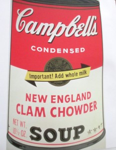 Andy Warhol | Campbell's New England Clam Chowder Soup, Andy Warhol, Campbell's Soup, pop art, is it art?