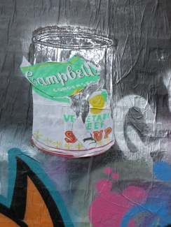 Campbell's Vegetable Beef Soup by Street Artist,, pop art, street art, is it art?