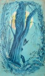 John Hanwood back cover art for book, John Hanwood, illustrative art, Penguin books, Puffin books, Fairy Tales from the Isle of Mann, illustrators, is it art?