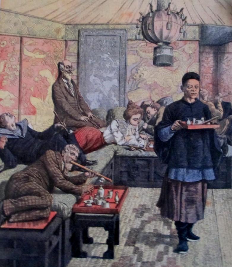 Fumerie d'Opium (Opium Den) Postcard Territoire de Kouang-Tcheou-Wan Indochina