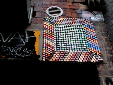 Street art using bottle caps