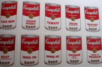 Andy Warhol - 10 Campbell's soup cans (Black Bean, Chicken Noodle, Tomato, Onion, Vegetable, Beef, Green Pea, Pepper Pot, Consomme (Beef) and Cream of Mushroom)