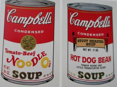 Andy Warhol | Two Campbell's soup cans (Tomato-Beef Noodle O's and Hot Dog Bean Stout Hearted Soup (Tender Beans and Little Frankfurter Slices)