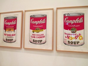 Andy Warhol's Campbell's Soup III - Hot Dog Bean, New England Clam Chowder and Tomato-Beef Noodle O's (1962)