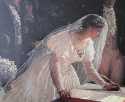 edmund blair leighton signing the register - city of bristol museum and art gallery